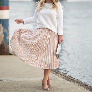 A New Day Blush Pink Velvet Midi Skirt